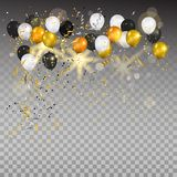 Gold and white balloons on transparent. Stock Photo