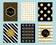 Gold, white and black gift card template with texture of foil Stock Photos