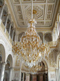 Gold white Chandelier under the dome of the palace Saint Peterburg Stock Photos