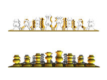 Gold and white chess Stock Images