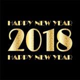 Gold white confetti and stars 2018 on black. Metallic gold white confetti and stars 2018  graphic  on black Stock Image