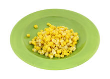 Gold White Corn Kernels Green Plate Royalty Free Stock Photos