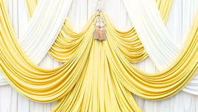 Gold and white curtain on stage Stock Photo