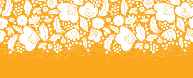 Gold and white floral silhouettes horizontal Stock Photo