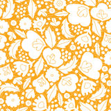 Gold and white floral silhouettes seamless pattern Stock Image