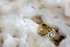 Ring on Raw Salt Cluster Royalty Free Stock Photo