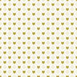 Gold on white love heart and dotted line pattern seamless repeat background. Two colour love heart and dotted pattern seamless repeat background. Could be used Stock Photo