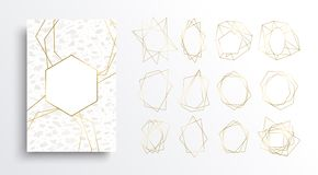 Gold and white luxury card background collection. Luxury gold and white card background set, golden color frame collection in art deco style with marble stone stock illustration