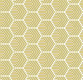 Gold on white multi hexagonal line pattern seamless repeat background. Two colour multi hexagonal line pattern seamless repeat background. Could be used for Stock Photography
