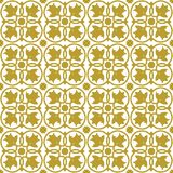 Gold on white ornate flower and circle tile art deco seamless repeat pattern background. Two colour ornate flower and circle tile art deco seamless repeat Royalty Free Stock Image