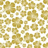Gold on white random hibiscus flower seamless repeat pattern background. Two colour random hibiscus flower seamless repeat pattern background. Could be used for Royalty Free Stock Photography