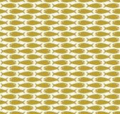 Gold on white simple fish pattern seamless repeat background. Two colour simple fish pattern seamless repeat background. Could be used for background pattern Stock Photo