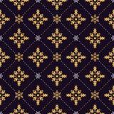 Gold and white snowflakes seamless pattern Stock Photos