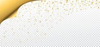 Gold white transparent background. Gold confetti on white Christmas transparent background. Paper corner sheet. Golden decoration glitter abstract design Happy stock illustration