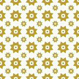 Gold on white with two different sized stars with squares and circles seamless repeat pattern background. Two colour of two different sized stars with squares Stock Photo