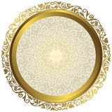 Gold and white vintage round isolated frame Stock Photos
