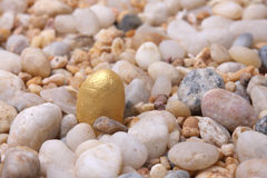 Gold will shine. The nugget in the sand Royalty Free Stock Photo