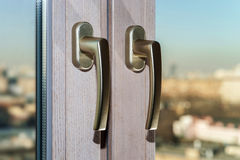 Gold window handles Royalty Free Stock Photography