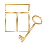 Gold window and key. Gold window and a key isolated on the white Stock Photo