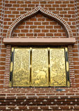 Gold window of wall. Gold window  wall of temple Stock Photo