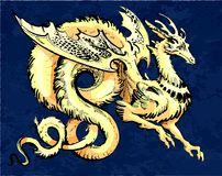 Gold winged dragon in asia style. With a long tail and blue background royalty free illustration