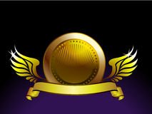 Gold wings emblem Royalty Free Stock Image