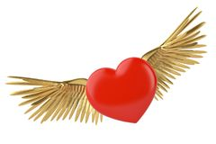 Gold wings and red heart 3d illustration. Gold wings and red heart 3d illustration stock illustration