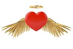 Gold wings and red heart 3d illustration. Gold wings and red heart 3d illustration vector illustration