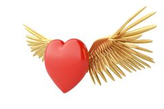 Gold wings and red heart 3d illustration. Gold wings and red heart 3d illustration royalty free illustration