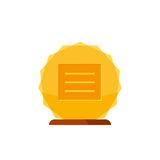Gold winner award with wooden base isolated on white background. Gold prize icon Stock Photo