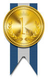 Gold winner medal. Vector illsutration background Stock Photography