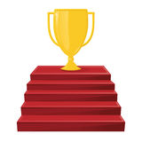 Gold winner`s cup on the red stairs. A victory award, an achievement. Win symbol Stock Images
