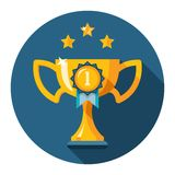 Gold winner trophy cup flat icon. The first place trophy. Gold winner cup flat icon. Vector illustration Stock Photography