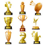 Gold Winning Trophy Designs Stock Photo
