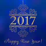 2017 gold winter snow happy new year card. Happy holidays card with number 2017 in gold snowflake and an inscription Happy New Year Royalty Free Stock Images