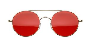 Gold Frame Red Lens Sun Glasses Front royalty free stock photo