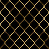 Gold wire grid seamless pattern background on black Royalty Free Stock Images