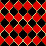 Gold wire grid seamless pattern on red and black rhomboids backg Stock Image