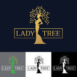 Gold Woman Lady tree logo vector art design royalty free illustration