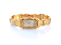 Gold woman watch isolated Royalty Free Stock Photo