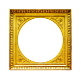 Gold wood frame isolated on white Royalty Free Stock Photo