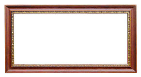 Gold and wood frame on white Stock Image