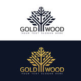 Gold Wood tree logo with line and shape vector art design Royalty Free Stock Images