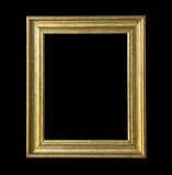 gold wooden  frame isolated  on black background. Royalty Free Stock Image