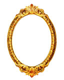 Gold wooden mirror frame isolated on white Royalty Free Stock Images