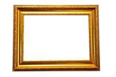 Gold Wooden photo frame. Blank gold wooden photo frame isolate over white background Stock Photo