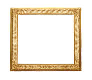 Gold wooden vintage frame isolated on white background. Stock Image