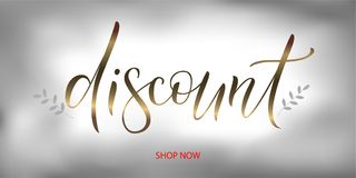Gold word discount with branches vector. Vector illustration EPS 10 of calligraphy, logotype, text as banner, quotation, detail, concept of internet clothes shop Stock Photo