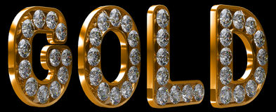 Gold word incrusted with diamonds Royalty Free Stock Images