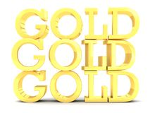3 Gold word lettering stack. An illustration of three GOLD lettering words stack on a white  background Royalty Free Stock Photo